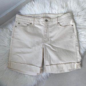Talbots Cuffed Denim Shorts NEW Ivory Cream Sz12